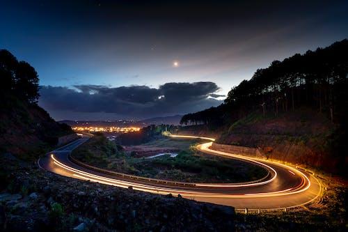 交通機関, 光の線, 夕方, 夕時の無料の写真素材