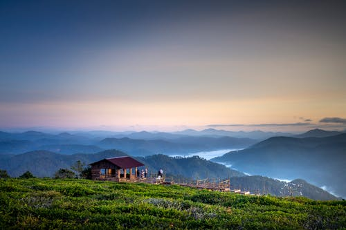 Brown Gazebo on Mountain Top Overlooking the Valley