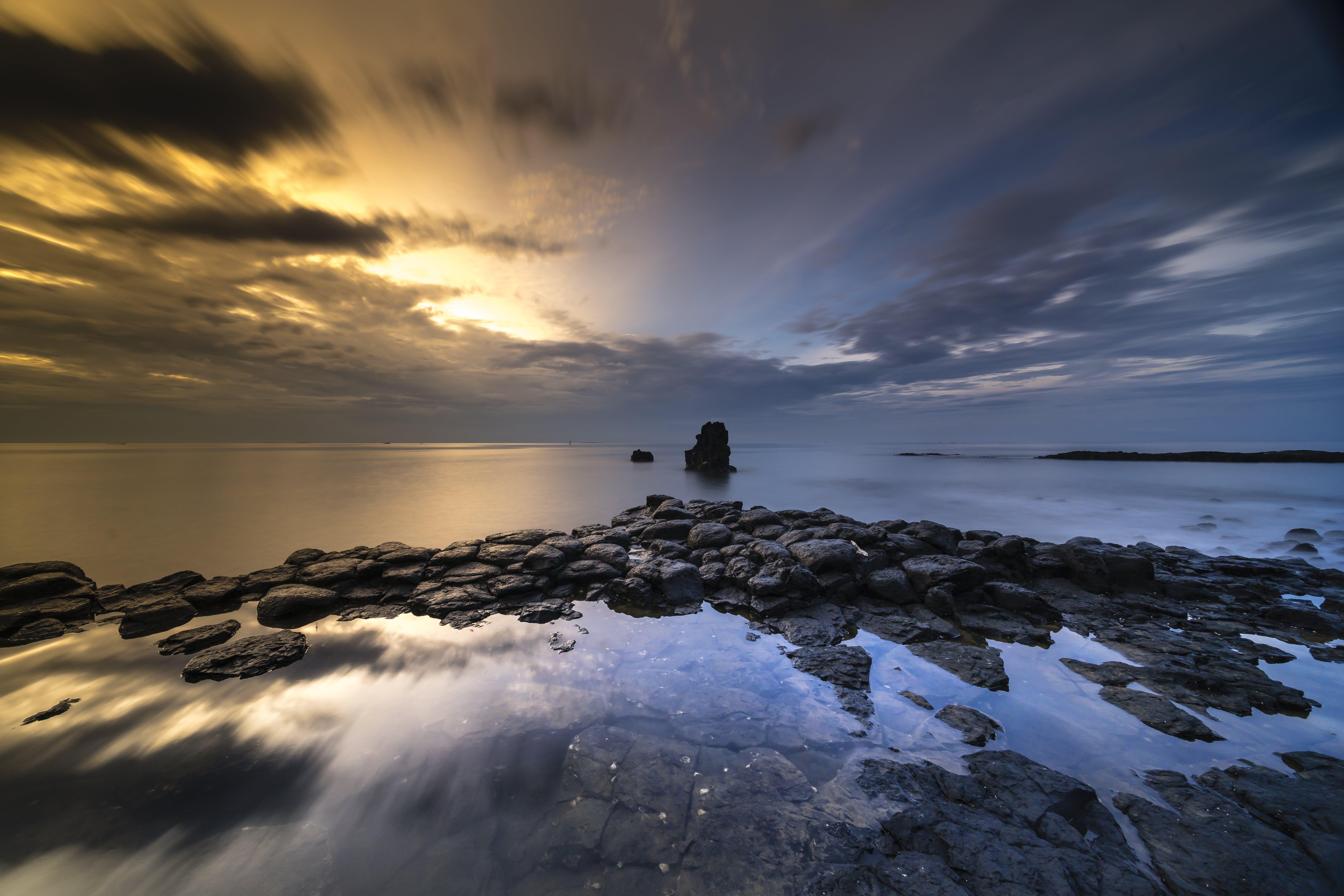 Základová fotografie zdarma na téma dlouhá expozice, dramatický, horizont, kameny