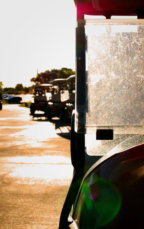 Immagine gratuita di alba, carrello, corso di golf, giocando a golf