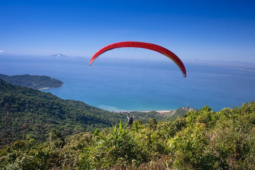 Person Paragliding Above Forest