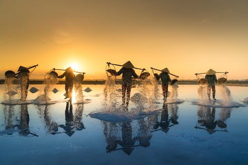 People Pouring Sea Water on Salt Field during Sunset