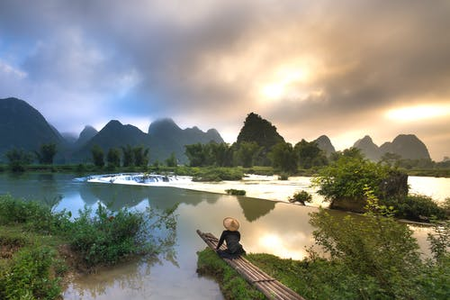Person Sitting on Bamboo Near Body of Water