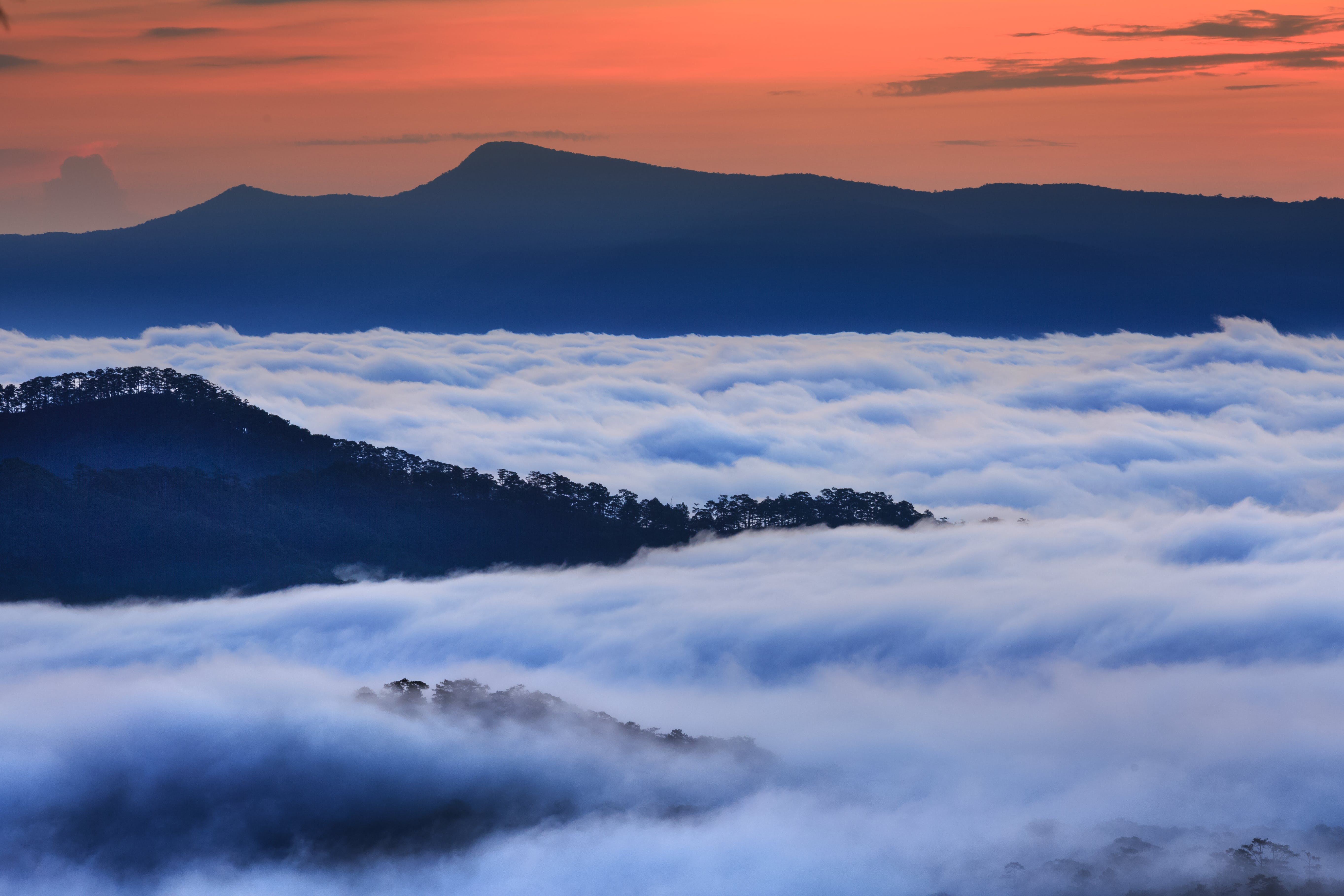 Aerial Photography of Mountain With Clouds during Golden Hour