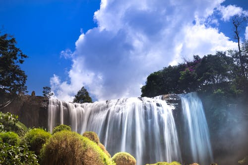 Waterfalls Under White and Blue Sky