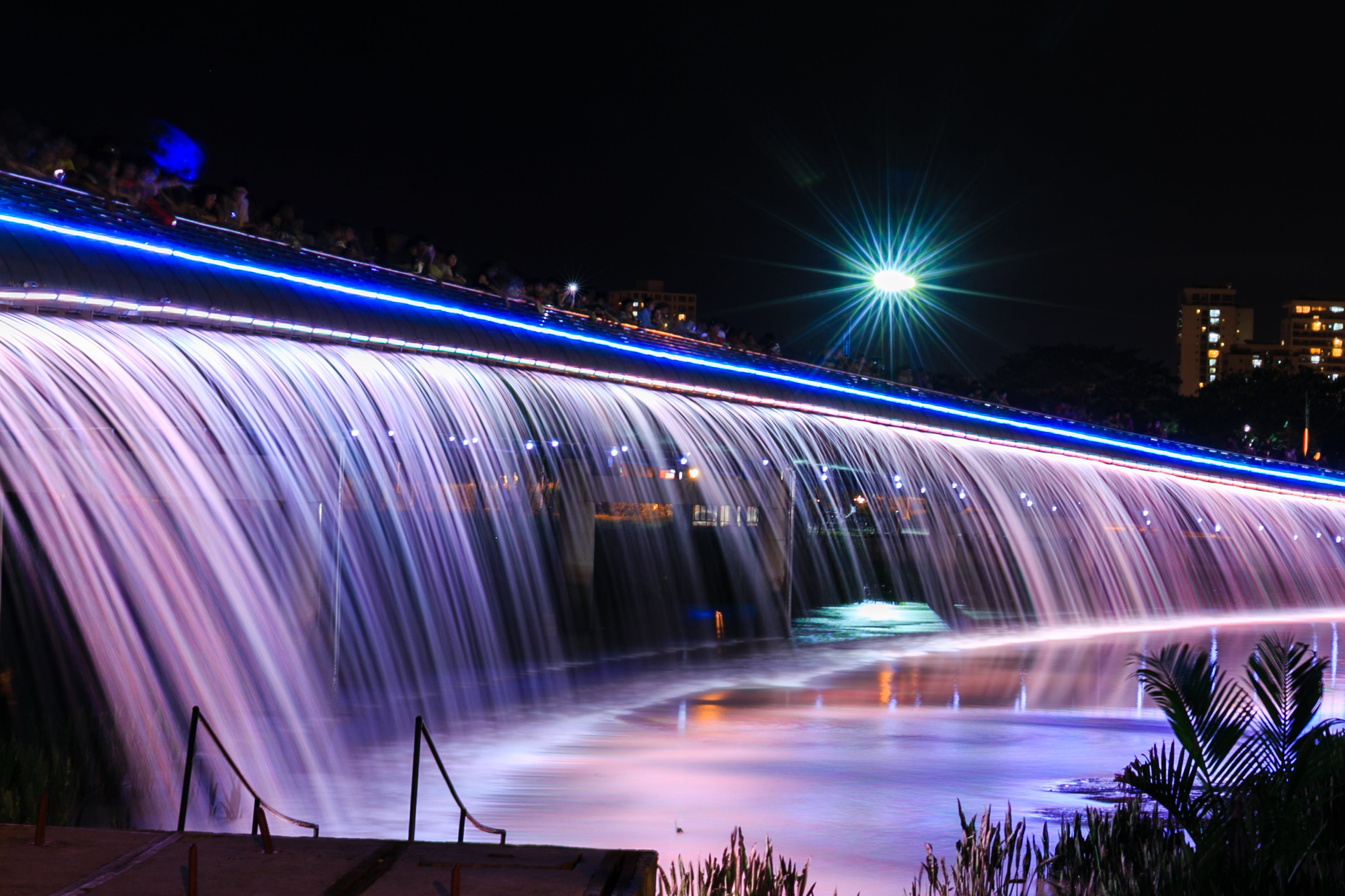 Led Water Fountain during Night