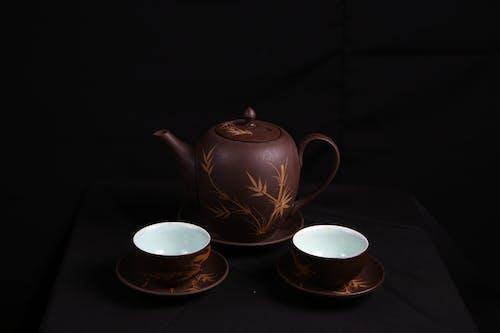 Brown Floral Ceramic Tea Set