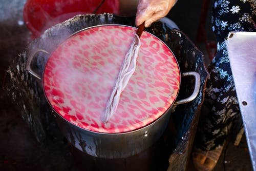 Pink and White Leopard Print Liquid on Stock Pot