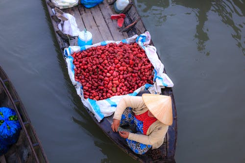 Person Sitting on Boat Beside Red Vegetables