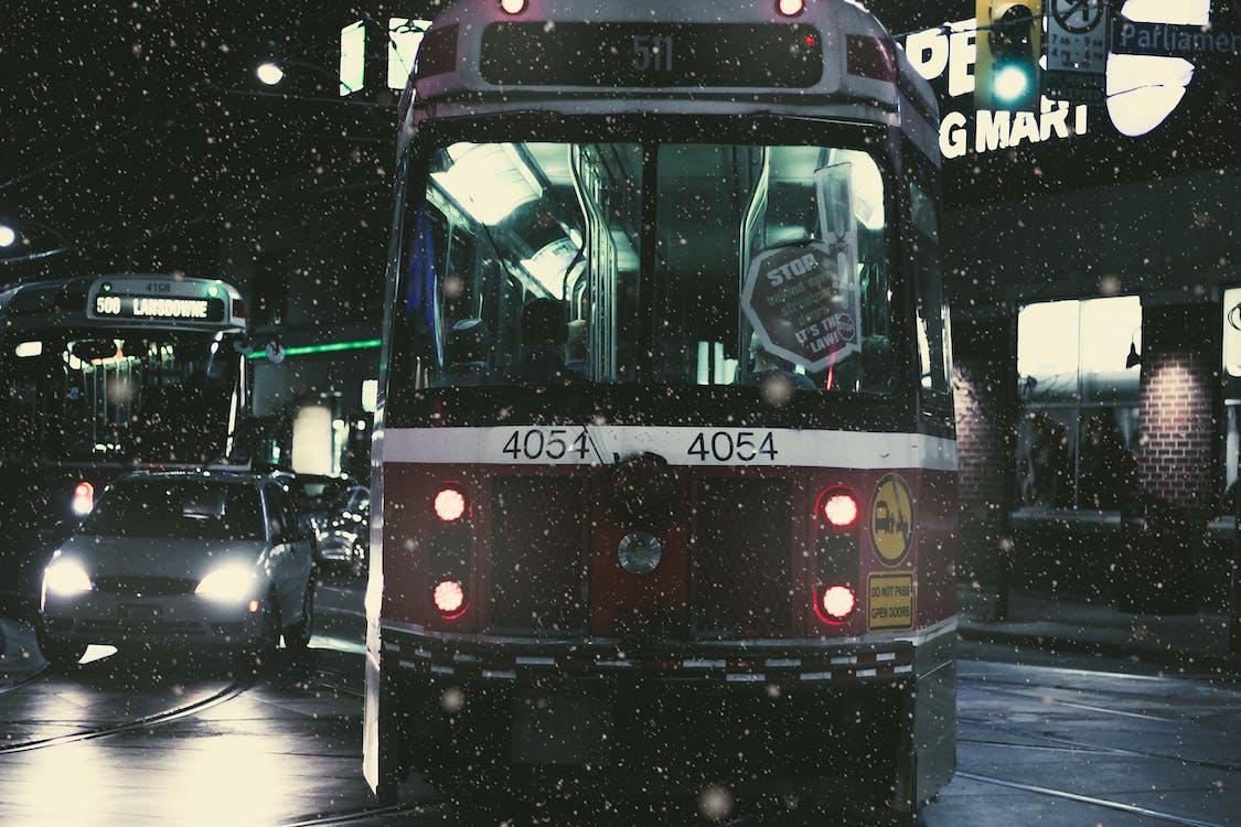 auto, sneeuw, straat