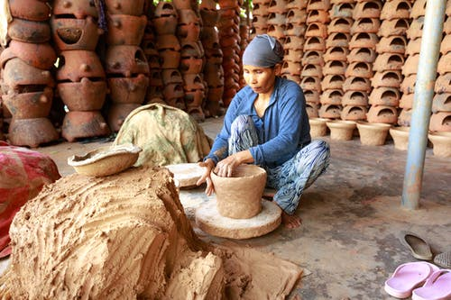 Woman Making Flower Pot