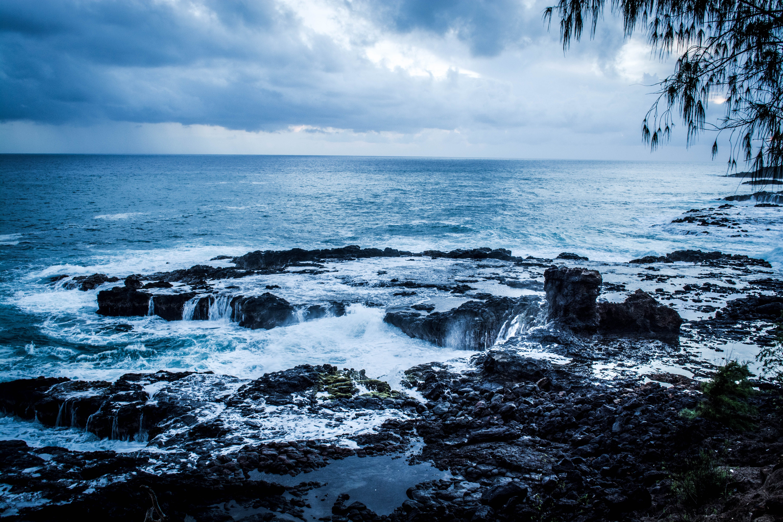 Sea Waves Crashing Rock Monoliths