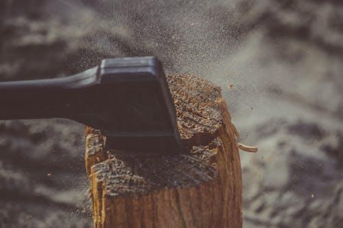 Kostenloses Stock Foto zu action, axt, baum, dunkel