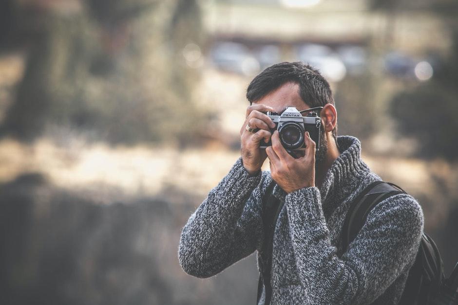 adult, blur, camera