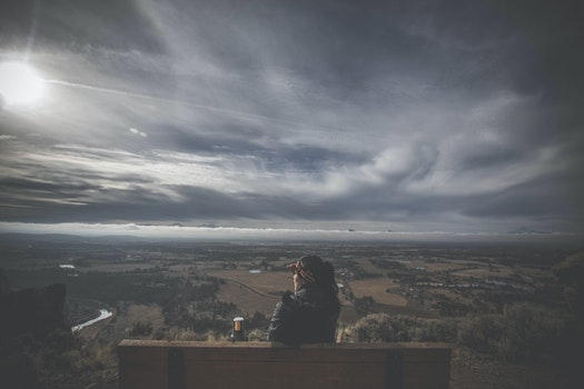 Free stock photo of bench, sky, person, clouds