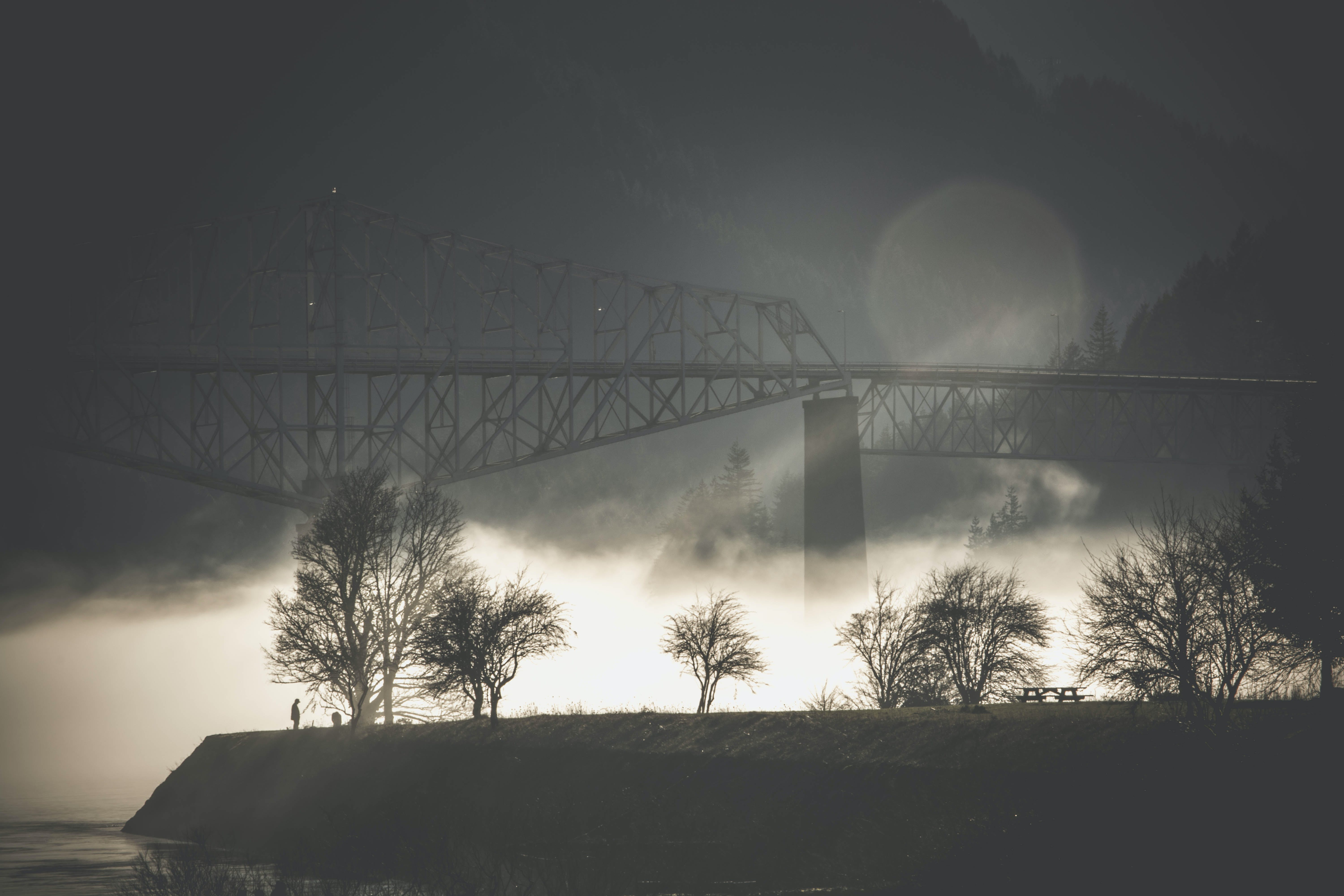 Grayscale Photography of Suspension Bridge