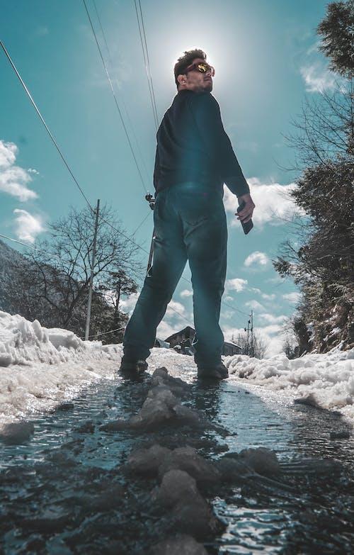 dramatik, dramatik gökyüzü, kar, lens flare içeren Ücretsiz stok fotoğraf