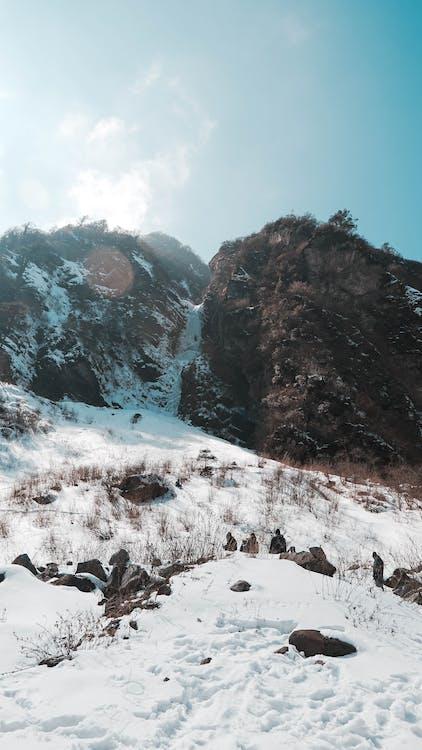 antenne, bjerg, dramatisk