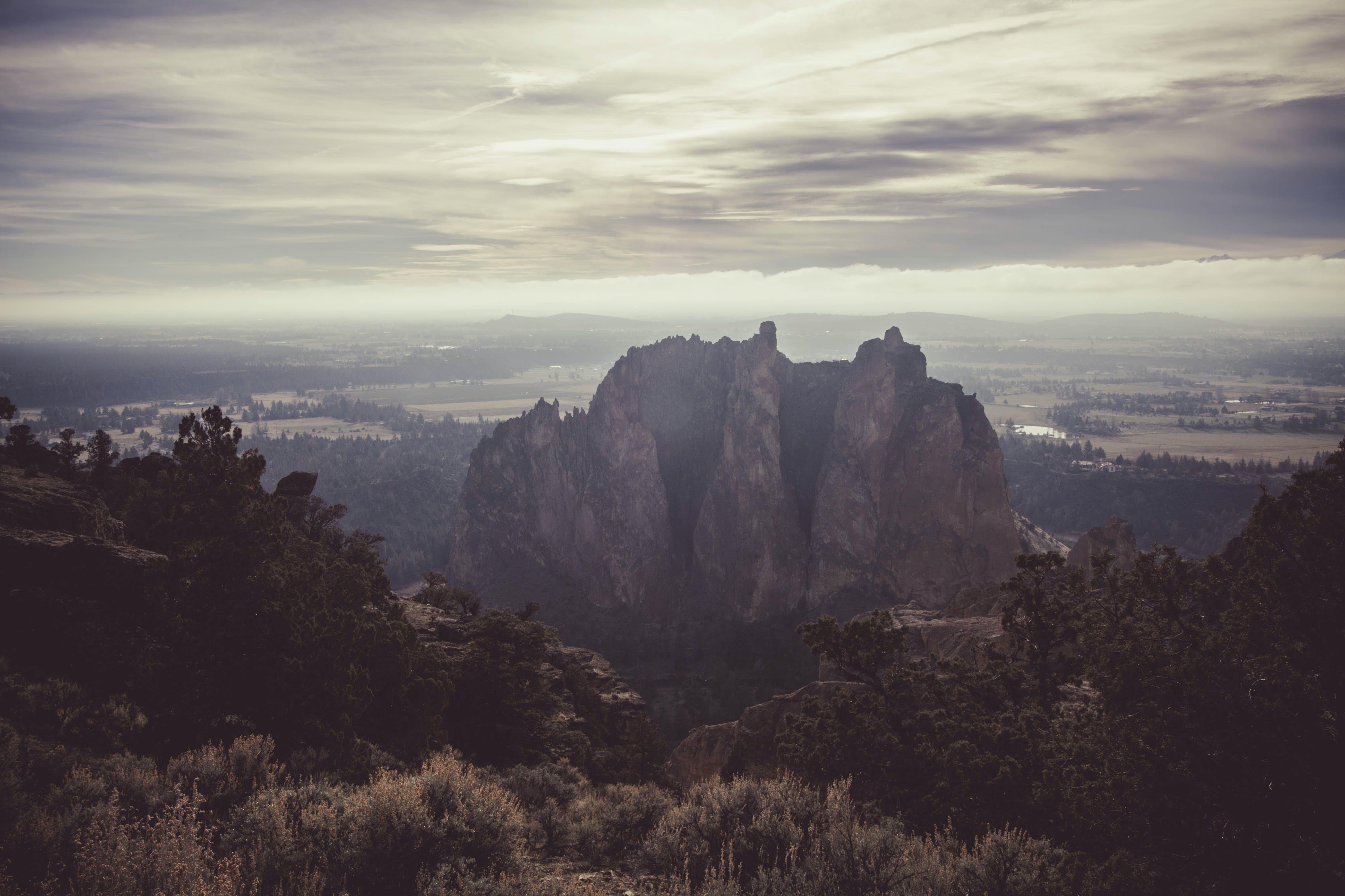 berg, dämmerung, felsig