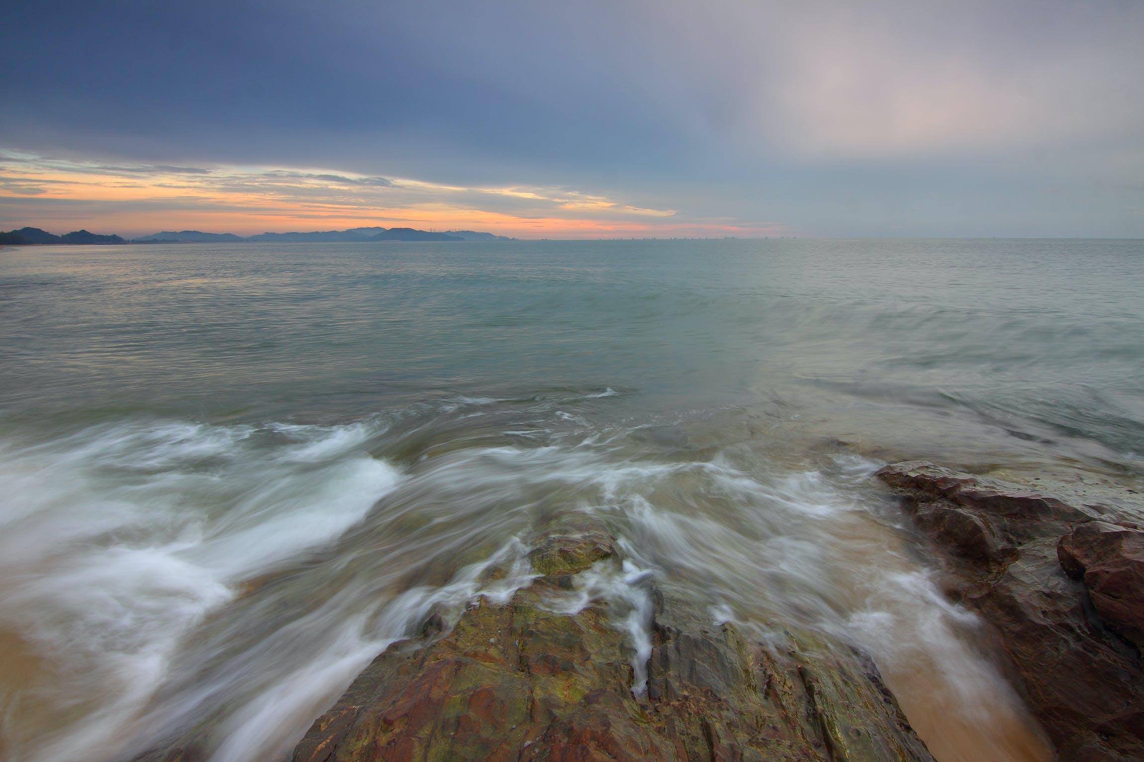 aften, bølger, dagslys