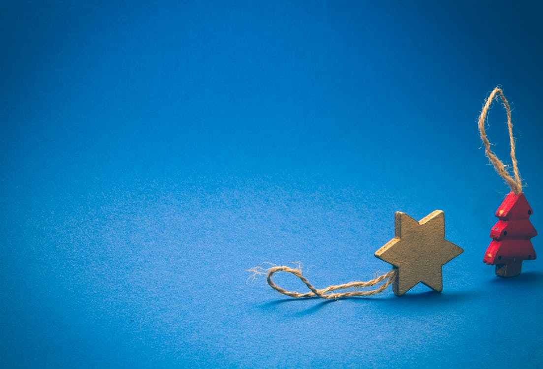 blue background, brown, christmas