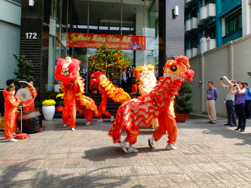People performing dragon dance