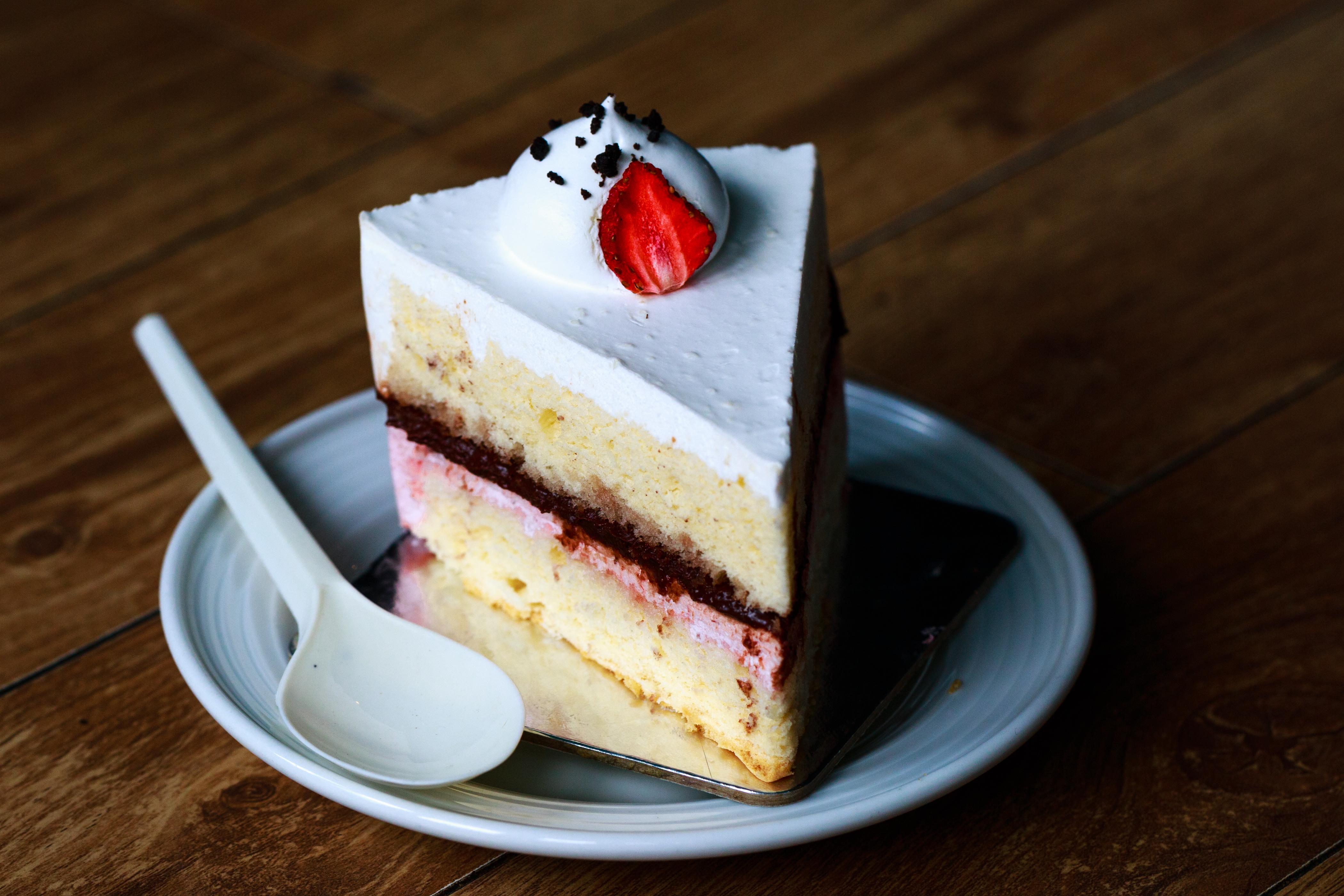 Sliced Cake on White Saucer