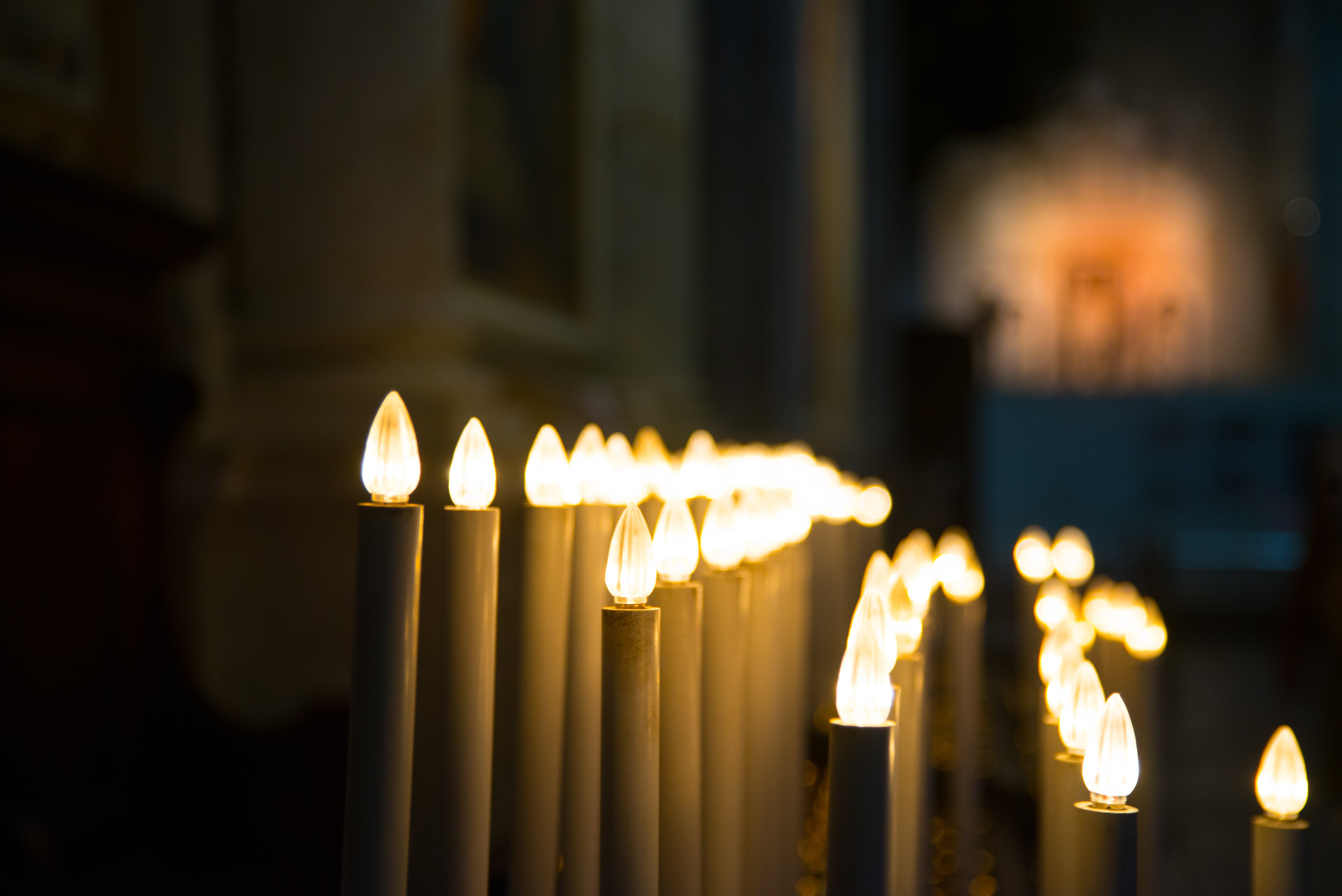 Closeup Photography of Candle Lamp Line