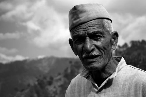 Free stock photo of black and white, india, lonely, old age