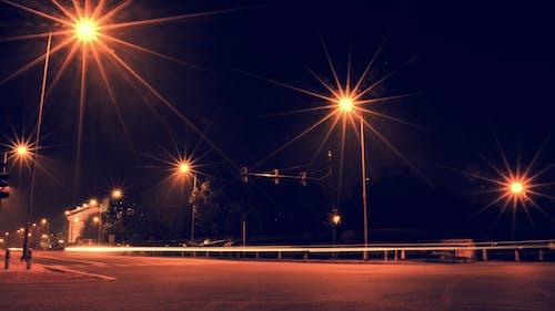 Ilmainen kuvapankkikuva tunnisteilla pitkä valotus, yksinäinen tie, yö