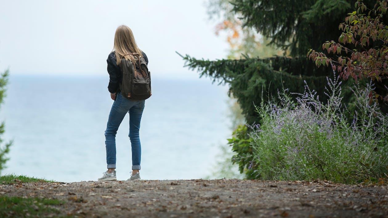 Woman Wearing Backpack
