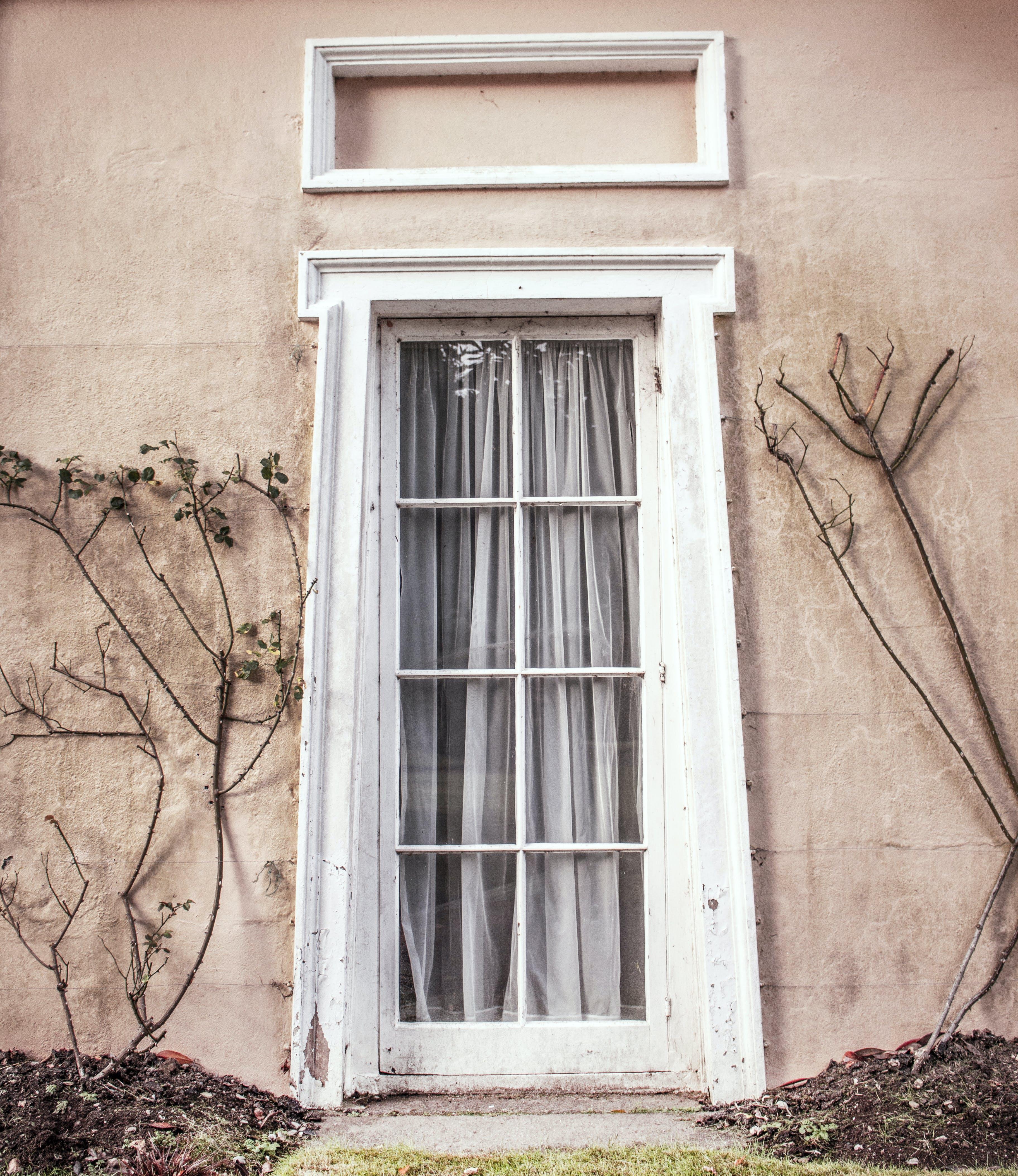 Gray Curtain on the Door