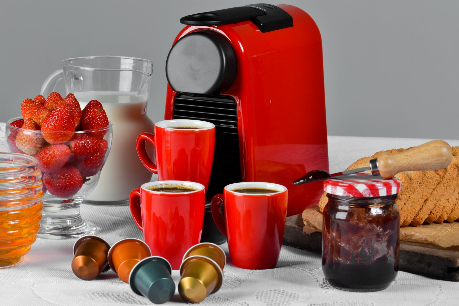 Red and black espresso machine