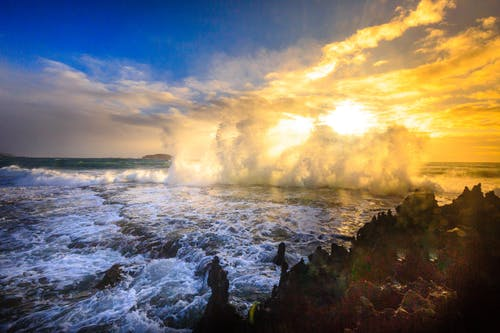 Ocean Waves Crashing on Island