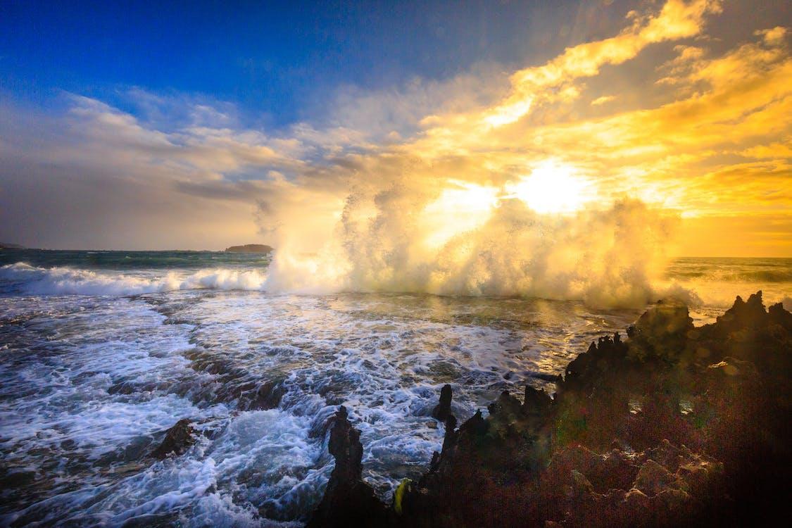 Ocean Waves Crashing on Island