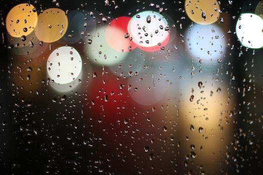 Free stock photo of lights, water, blur, rain