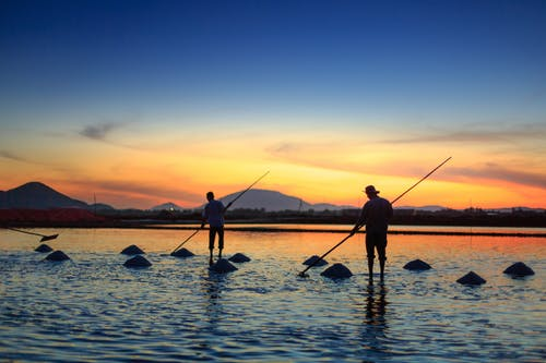 Silhouette of Two Men Fishing on Body of Water
