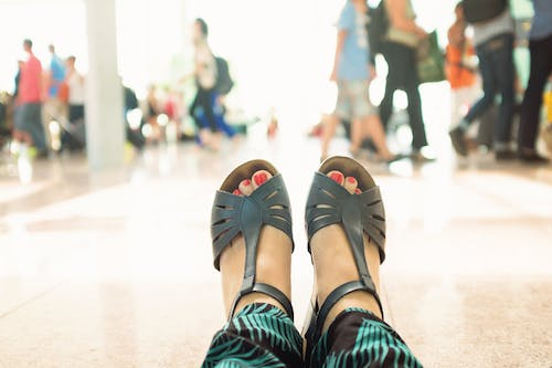 Free stock photo of airport, feets