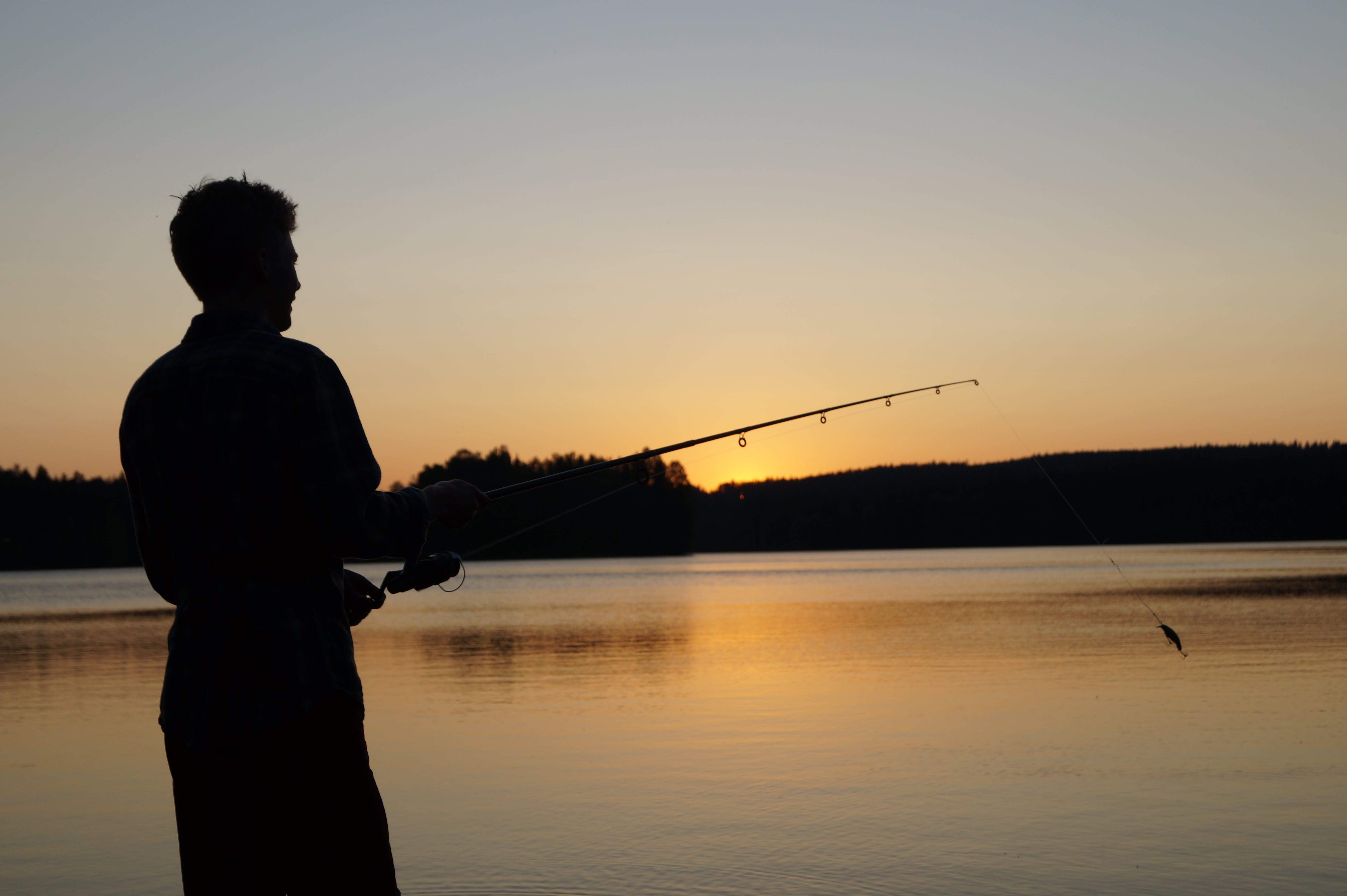 Free stock photo of fishing, lake, sunset