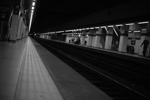 People Walking on Train Station Greyscale Photography