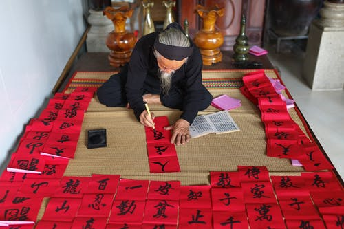 Person Painting Chinese Scripts