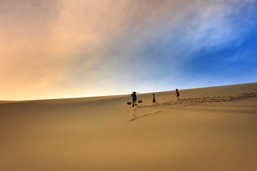 Silhouette Photography Of Three People Walking On Sand