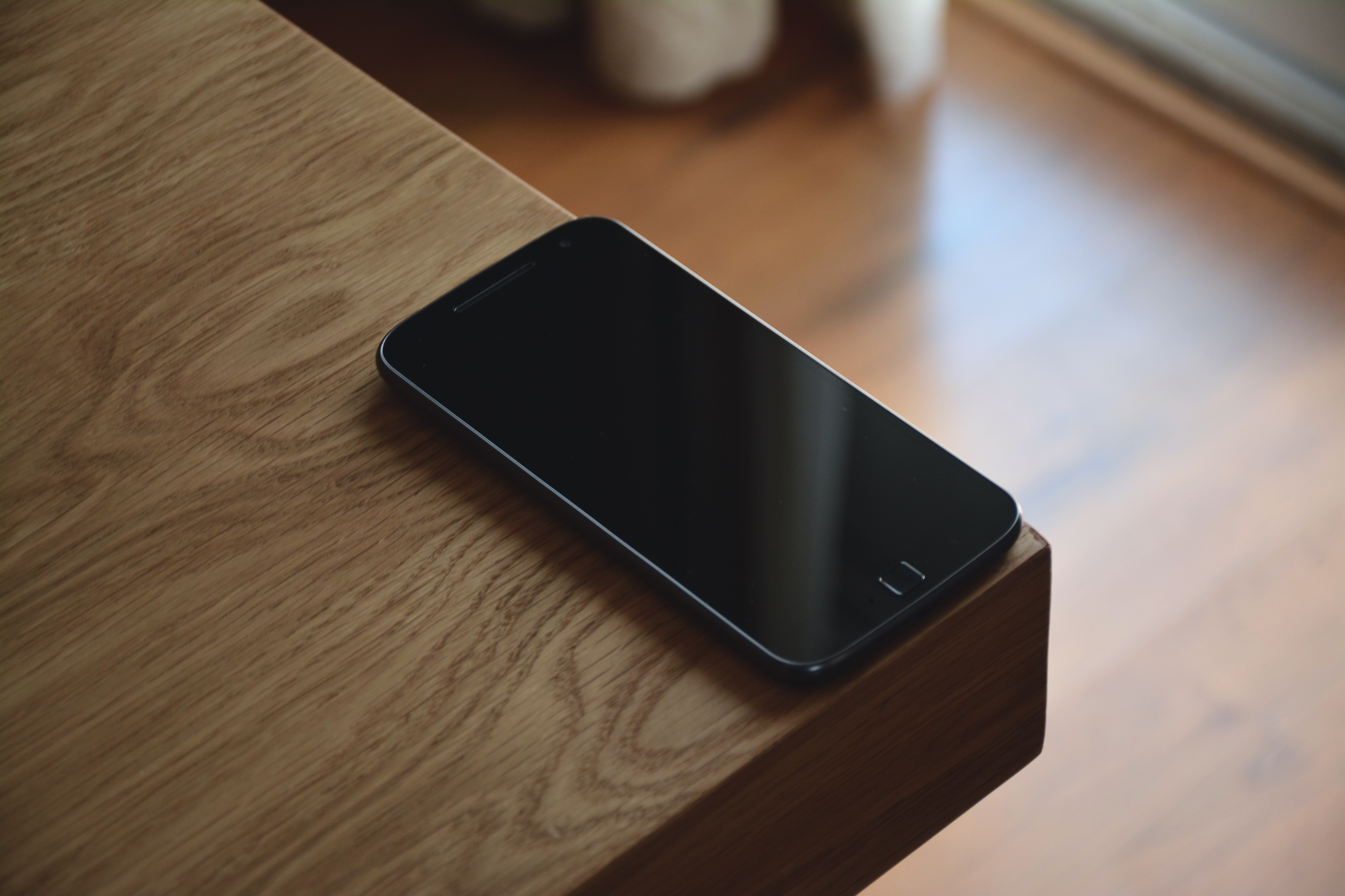Black Android Smartphone on Corner Table