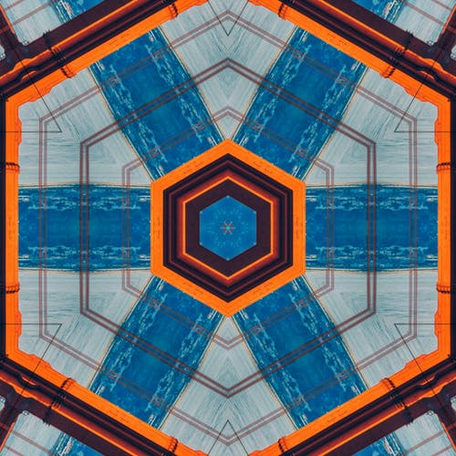 Orange Blue Black Hexagon Print
