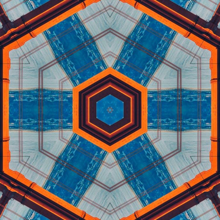 Orange Blue Black Hexagon Print
