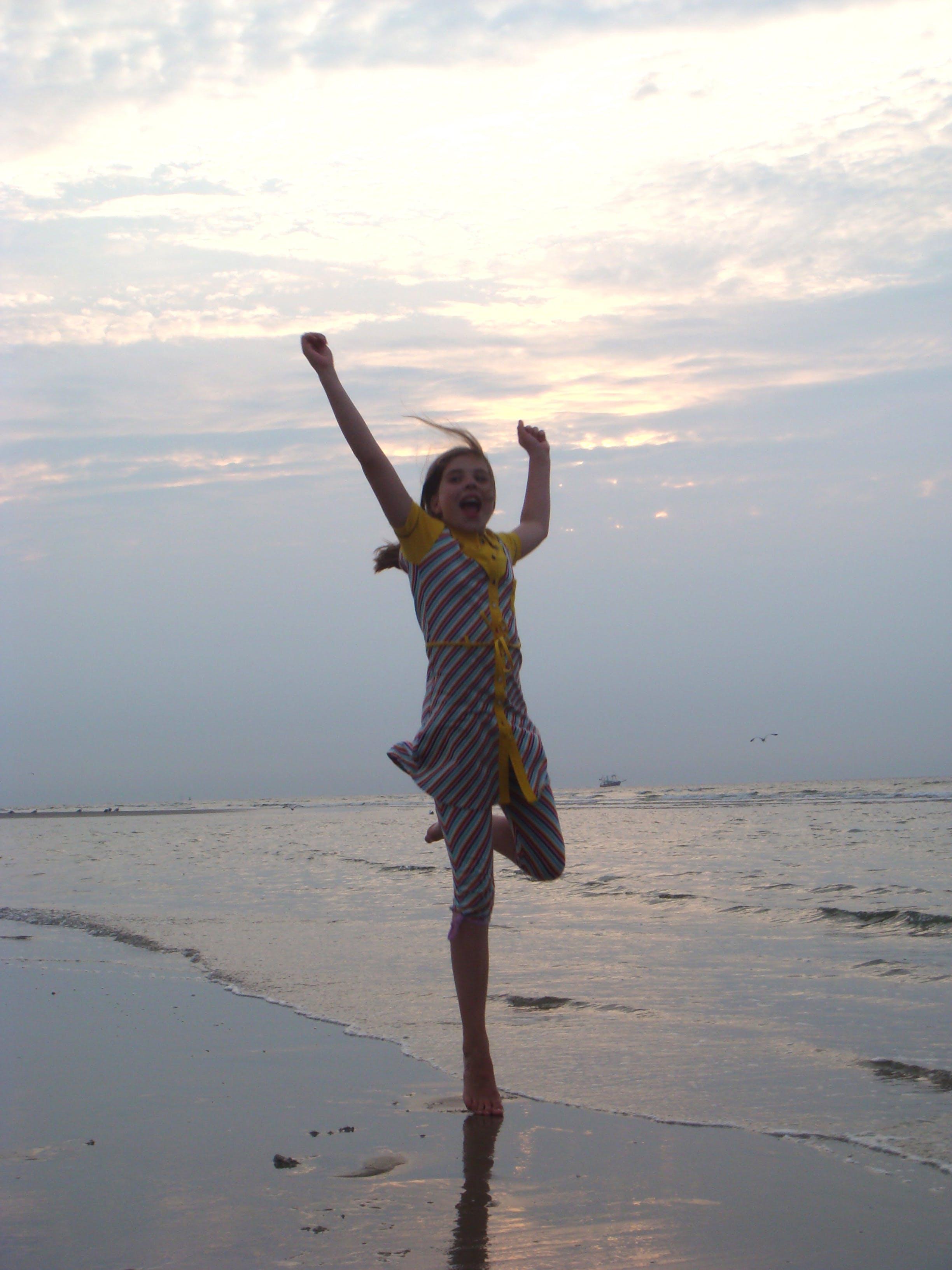 Free stock photo of beach, girl, happy, jump