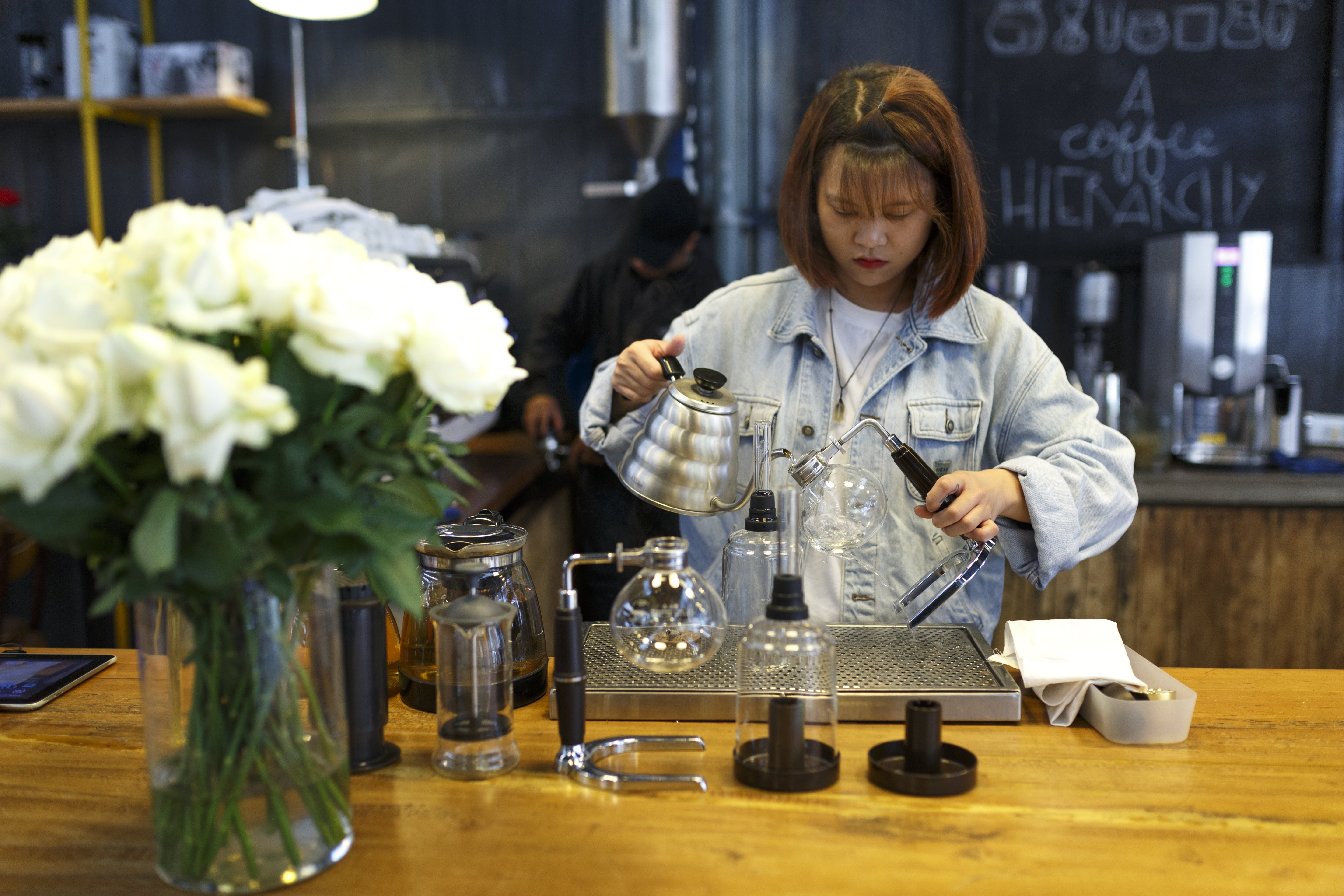 Woman Mixing Beverages