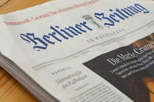 報紙, 德語, 柏林 的 免费素材照片