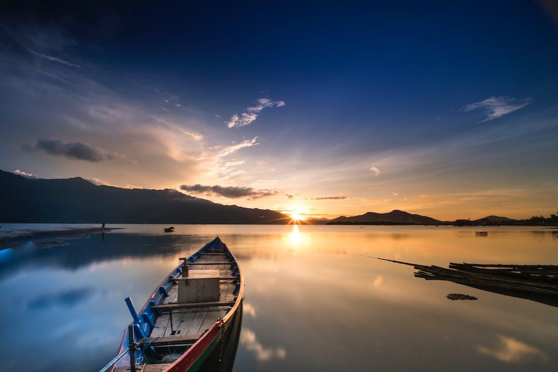 amanecer, anochecer, barca