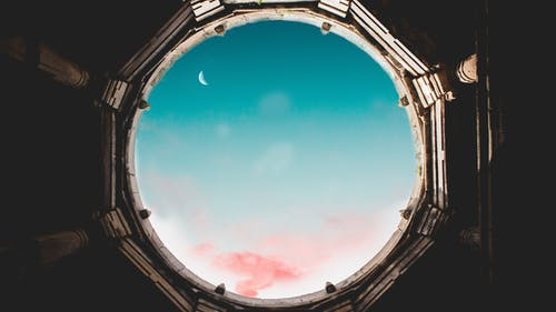 Free stock photo of clouds, crescent moon, daylight, glass